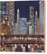 Hustle And Bustle Night Lights In Chicago Wood Print