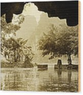 Hut In Tam Coc From A Cave River Wood Print