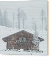 Huts And Winter Landscapes Wood Print