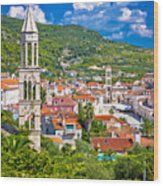 Hvar Architecture And Nature Vertical View Wood Print