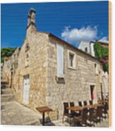 Hvar Old Stone Church And Antic Steps Wood Print