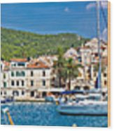 Hvar Yachting Harbor And Historic Architecture Panoramic  Wood Print