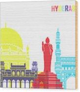 Hyderabad Skyline Pop Wood Print