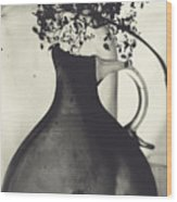 Hydrangea And Vase Wood Print