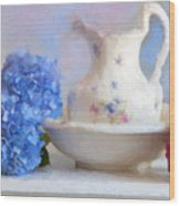 Hydrangea And Wash Basin Wood Print