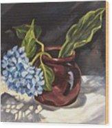 Hydrangea In A Bean Pot Wood Print