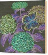 Hydrangea Negative Wood Print