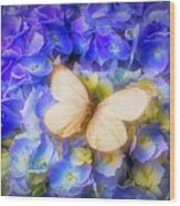 Hydrangea With White Butterfly Wood Print