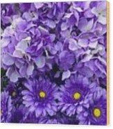 Hydrangeas And Daisies So Purple Wood Print