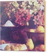 Hydrangeas And Pears Vignette Wood Print