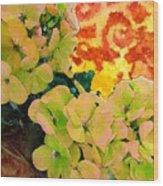 Hydrangeas And Swirls Wood Print