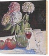 Hydrangeas Apples And Wine Wood Print