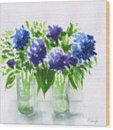 Hydrangeas At Vics  Wood Print