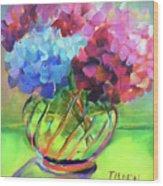 Hydrangeas In A Glass Vase Wood Print
