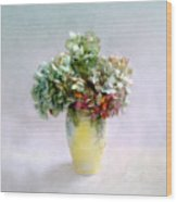 Hydrangeas In Autumn Still Life Wood Print