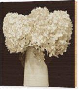 Hydrangeas In Sepia Wood Print