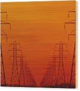 Hydro Power Lines And Towers Wood Print