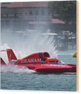 hydroplane racing boat on the Detroit river Wood Print