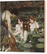 Hylas And The Nymphs John William Waterhouse Wood Print