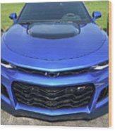 Hyper Blue Metallic 2017 Chevrolet Camaro Zl1 Wood Print