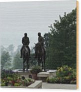 Hyrum And Joseph Smith Statue In The Mist From The Mississippi Wood Print
