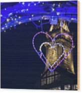 I Heart Boston Ma Christopher Columbus Park Trellis Lit Up For Valentine's Day Wood Print