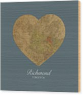 I Heart Richmond Virginia Street Map Love Americana Series No 057 Wood Print