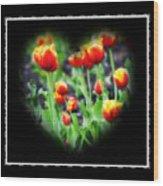 I Heart Tulips - Black Background Wood Print