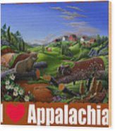 I Love Appalachia T Shirt - Spring Groundhog - Country Farm Landscape Wood Print