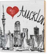 I Love Auckland  Wood Print