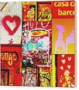I Love Barcelona Wood Print