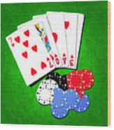 I Love Poker Wood Print