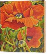 I Love Poppies Wood Print