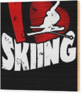 I Love Skiing Wood Print