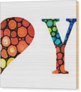 I Love You 14 - Heart Hearts Romantic Art Wood Print