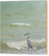 I Saw The Heron Standing Wood Print