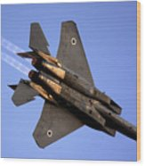 Iaf F15i Fighter Jet On Blue Sky Wood Print