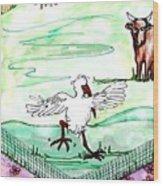 Ibis Hopping Wood Print