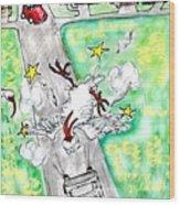 Ibis Sees Stars Wood Print