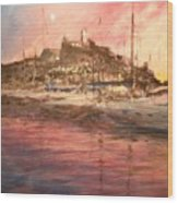 Ibiza Old Town At Sunset Wood Print
