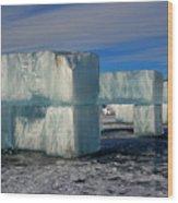 Ice Blocks Wood Print