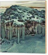 Ice Cave Of Stones Wood Print