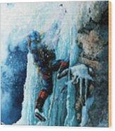Ice Climb Wood Print