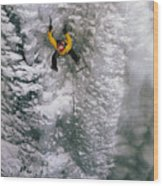 Ice Climbing In The South Fork Valley Wood Print by Bobby Model
