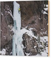 Ice Climbing The Scepter In Hyalite Canyon Wood Print