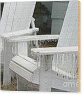 Ice-coated Chairs Wood Print