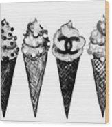 Ice Cream Black ,chanel Wood Print