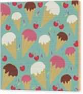 Ice Cream Cones Wood Print