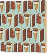 Ice Cream Novelties Pattern Wood Print