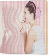 Ice Cream Pin-up Poster Girl Licking Waffle Cone Wood Print